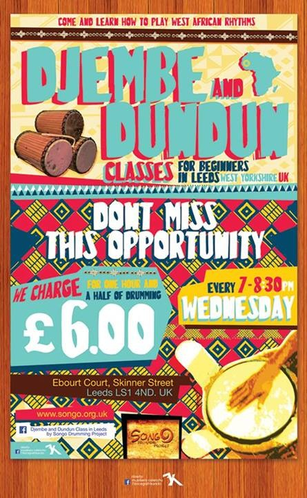 Regular African Drumming Classes in Leeds, every Wednesday evening for only £6 per session.